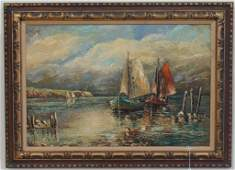 Large Oil on Canvas Painting of a Seascape with