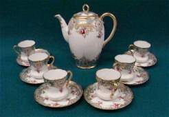Hand painted Nippon Chocolate Set: Includes 6 Cups with