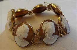Stunning Antique 14K Yellow Gold & Carved Shell Cameo