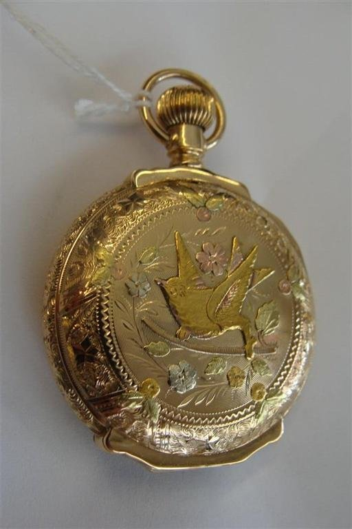 14K Multicolored Gold Hunting Case Pocket Watch with a