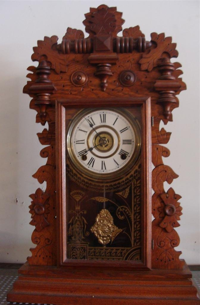 Antique Sessions Ornate Oak Cased Kitchen Clock with