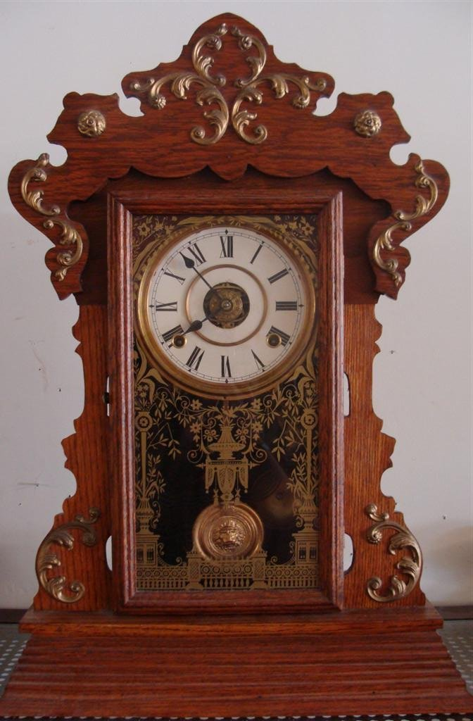 Antique Oak Cased Mantle Clock with Time & Strike in