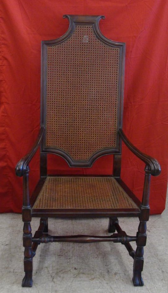 Early Antique Chair with Cane back & Seat, Turned