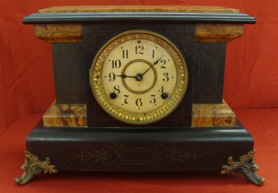 Seth Thomas Mantle Clock in an Ornate Case; Time &