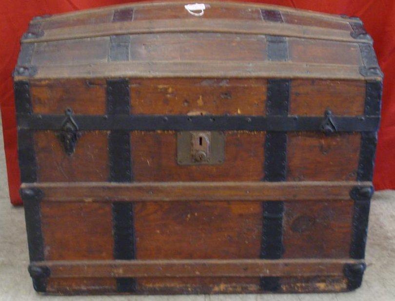 Antique Dome Top Trunk with Oak Slats & Metal Straps.