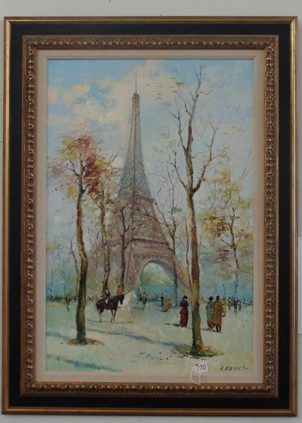 Listed Artist Oil on Canvas Painting Depicting Eiffel