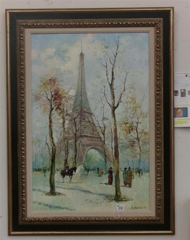 Oil on Canvas Painting by Listed Artist A. Masset. - 2
