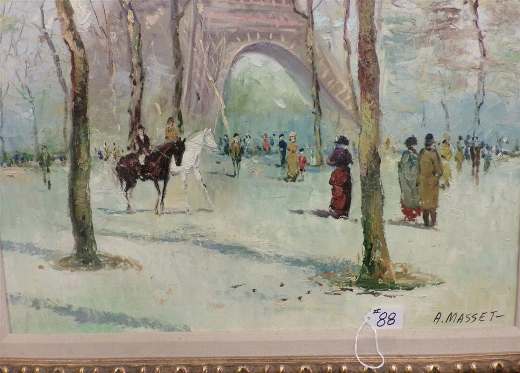 Oil on Canvas Painting by Listed Artist A. Masset. - 4