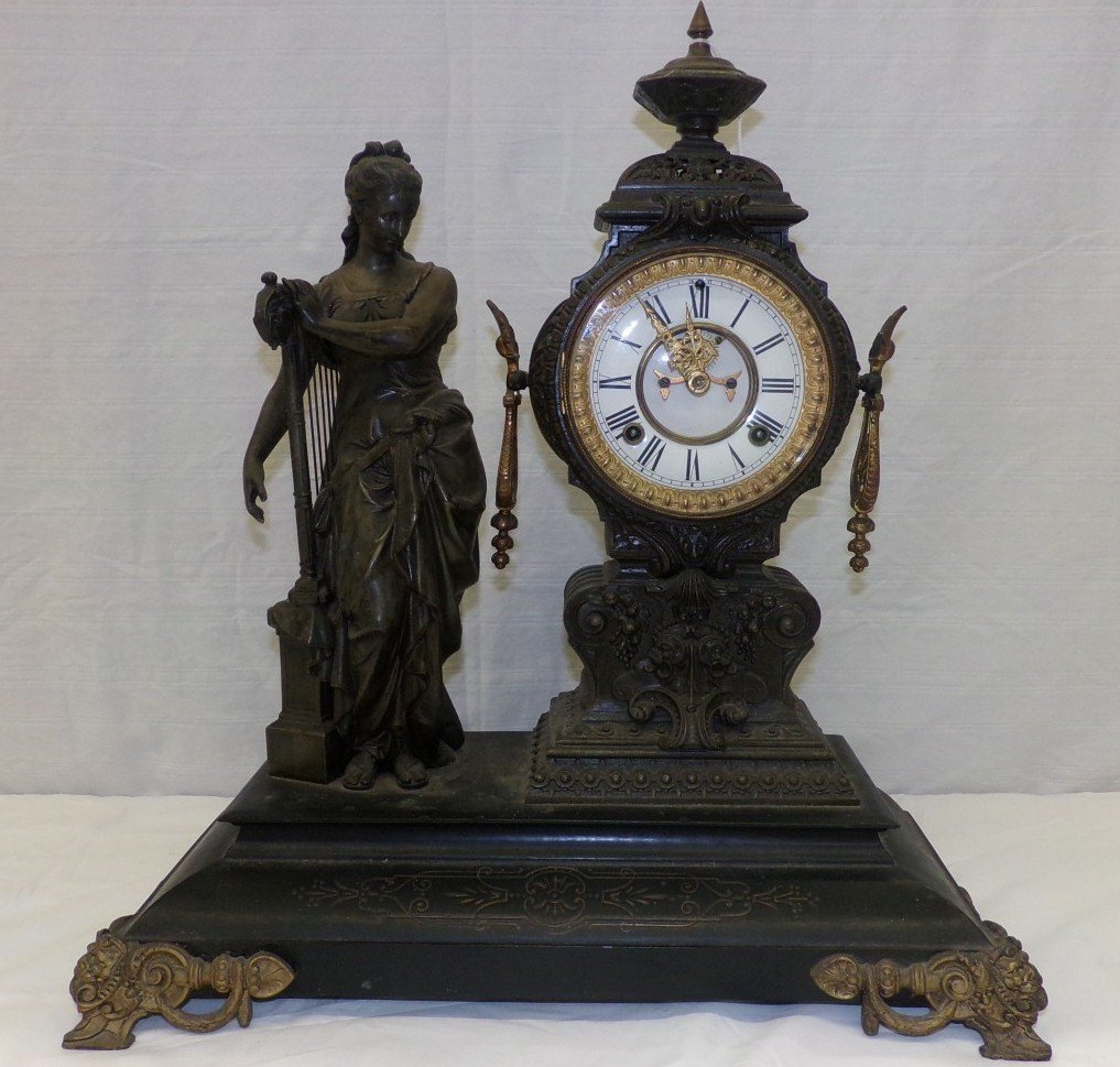 Antique Figural Clock Made by Ansonia Clock Co. Depicts