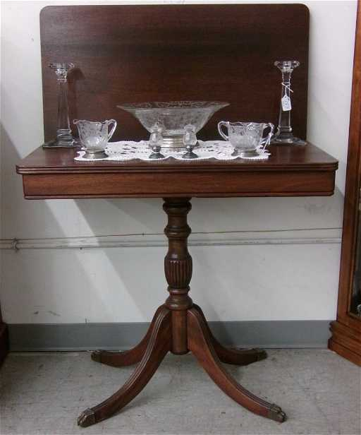 Mahogany Duncan Phyfe Style Flip Top Game Table