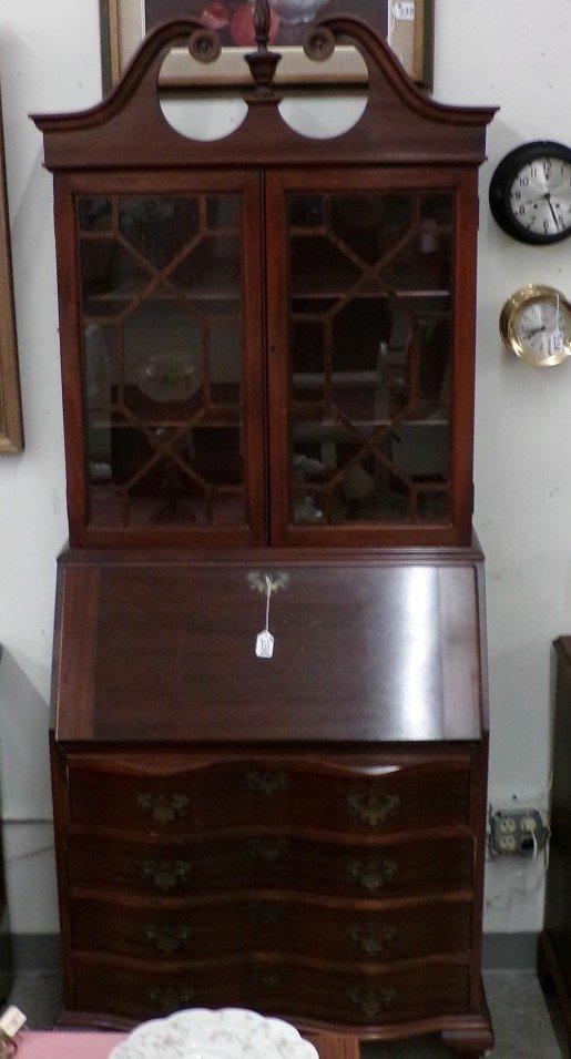 Antique Mahogany Governor Winthrop Bookcase / Secretary