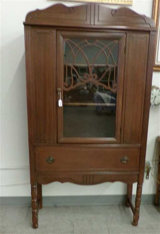 - Antique China Cabinet With Glass Door Over A One Drawer