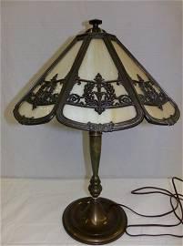 Rare Signed Bradley & Hubbard 8 Panel Slag Glass Lamp;