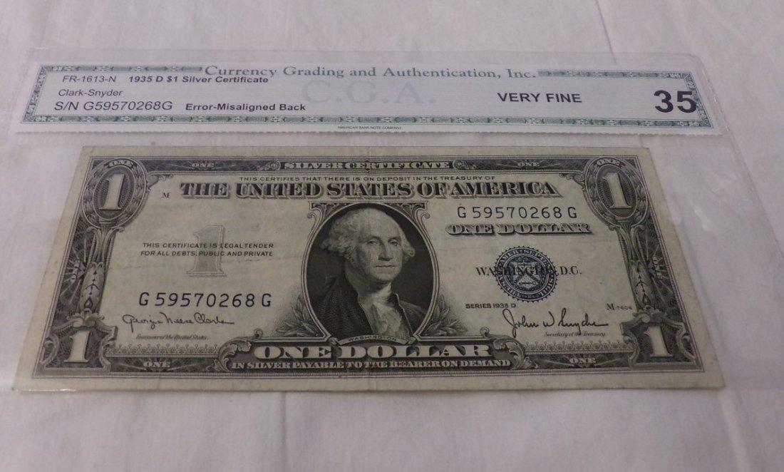 CGA Graded Fr1613-N. 1935 $1 Silver Certificate.
