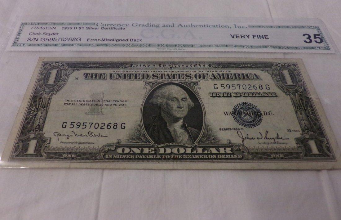 CGA Graded Fr1613-N. 1935 $1 Silver Certificate. - 4