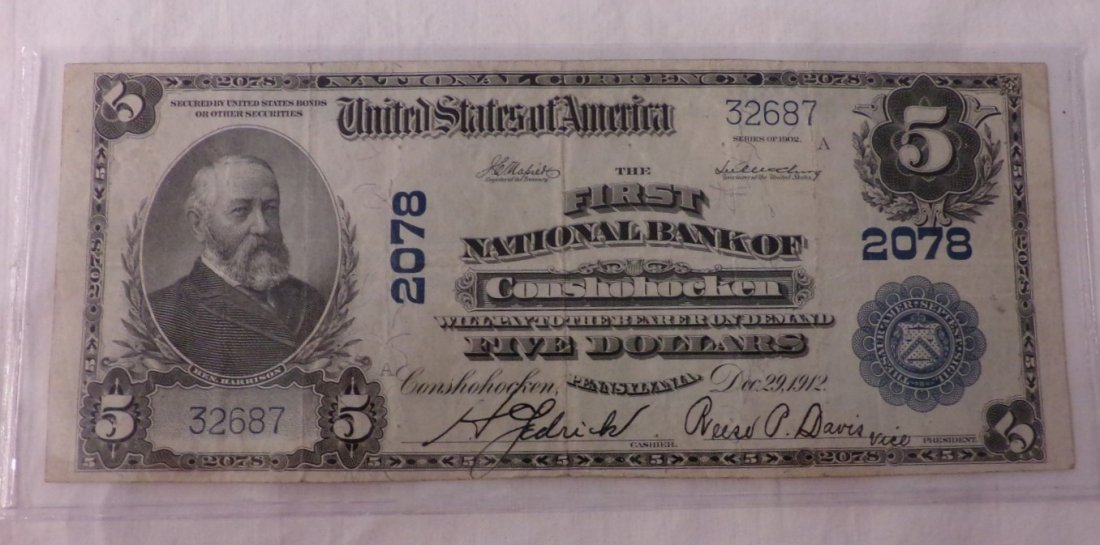 Ungraded 1902 $5 Large Size National Currency, Bank of