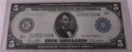 Ungraded 1914 $5 Large Size Federal Reserve Note.