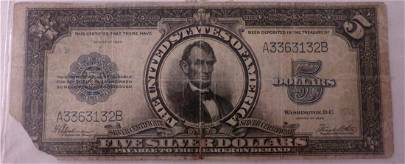 Ungraded 1923 $5 Silver Certificate; Large Size Note;