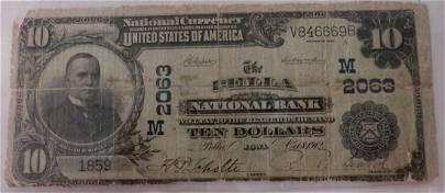 Ungraded 1902 $10 National Bank Note; Pella, IO. Large