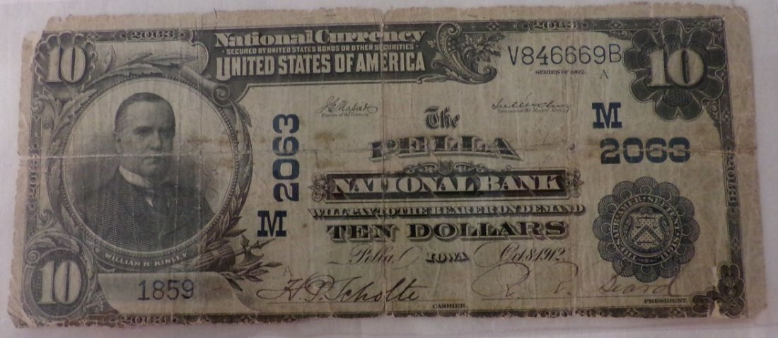 Ungraded 1902 $10 National Bank Note; Pella, IO. Large