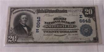 Ungraded $20 National Bank Note; Smithfield, PA. 1902.
