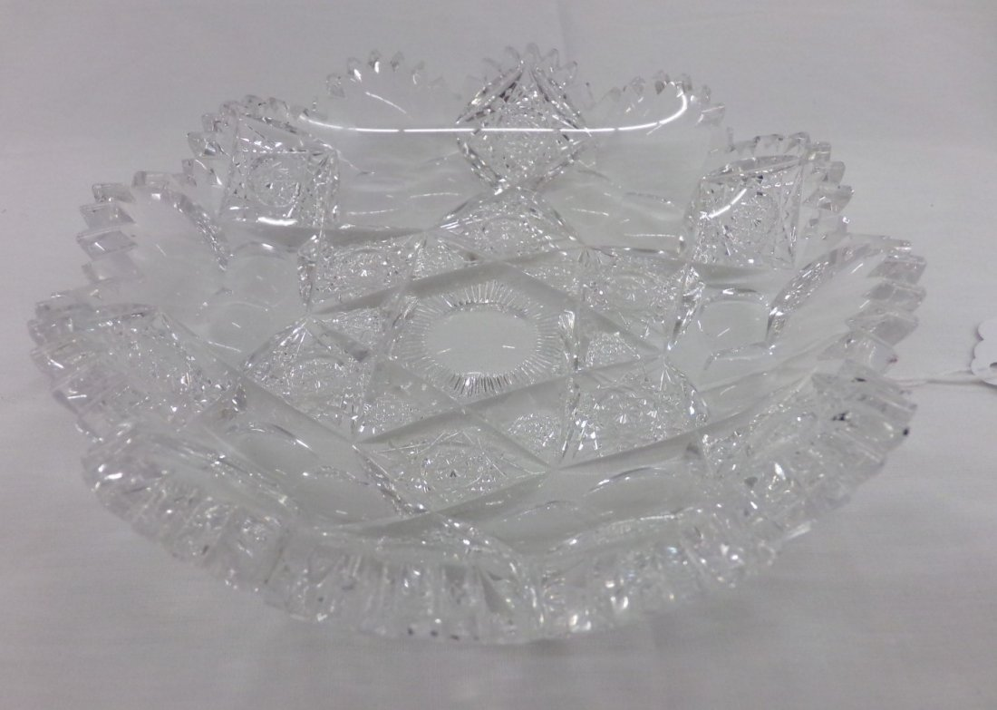 Signed Hawkes Brilliant Period Cut Glass Candy Dish; 6""