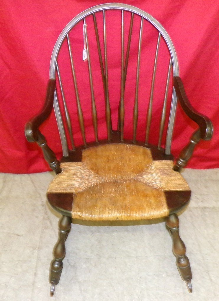 Antique Spindle Back Rocking Chair with a Rush Seat. - 2