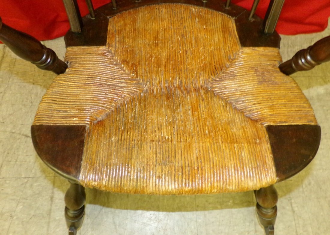 Antique Spindle Back Rocking Chair with a Rush Seat. - 4