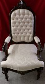 19th Century Arm Chair with Button Tuft Upholstery,
