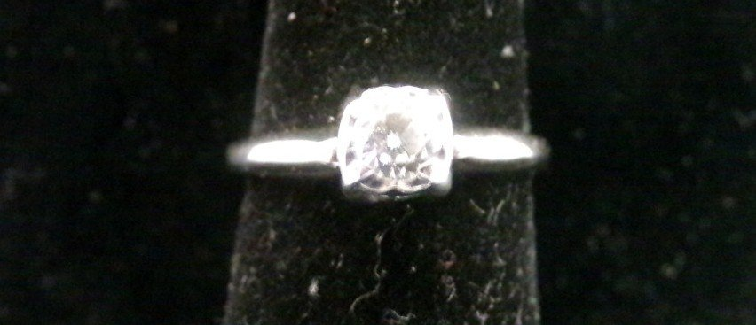 14K White Gold Diamond Solitaire Ring with 1/3 Carat