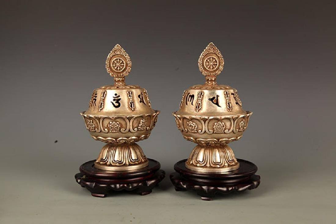 A FINELY CARVED TIBETAN BRONZE AROMATHERAPY