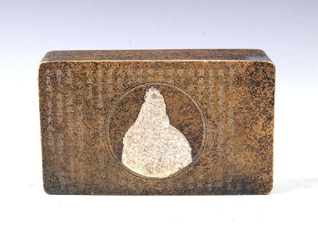 A FINELY CARVED ROUND BRONZE INK BOX - 3