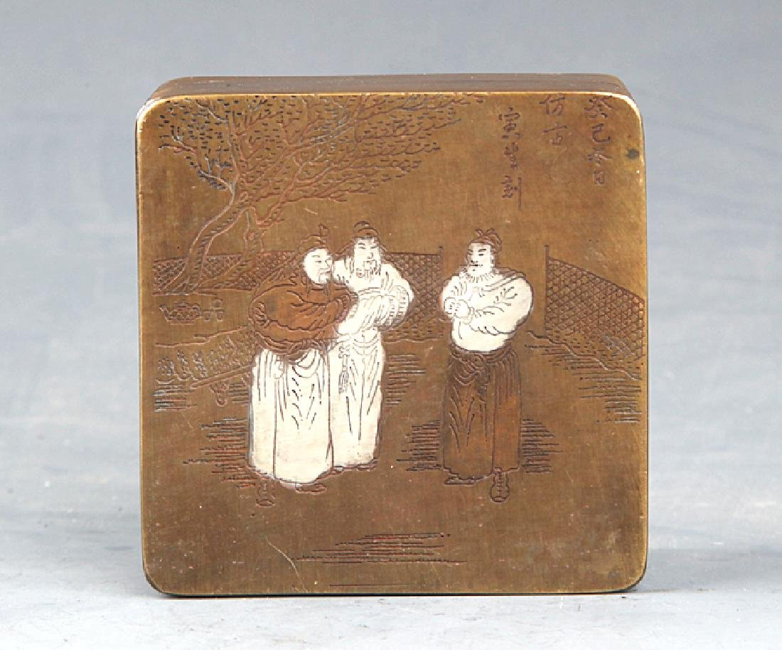 A STORY CARVING BRONZE INK BOX