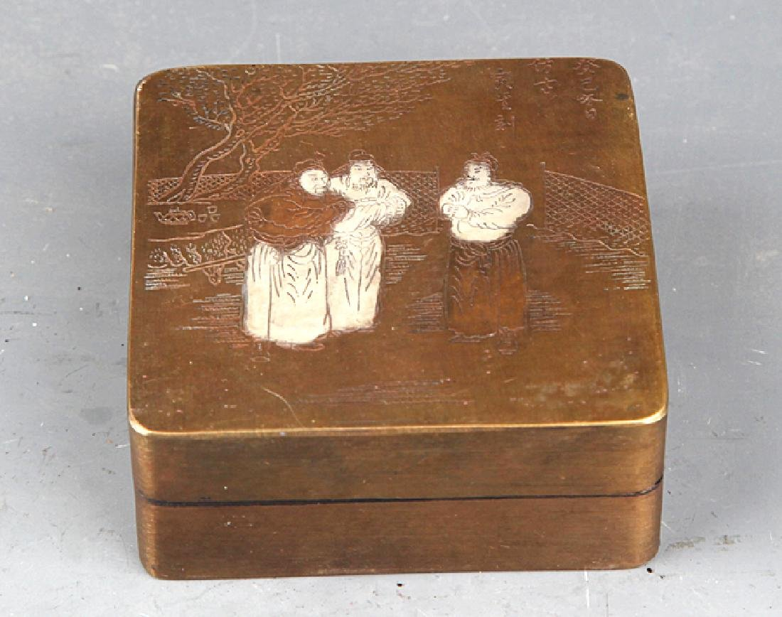 A STORY CARVING BRONZE INK BOX - 2