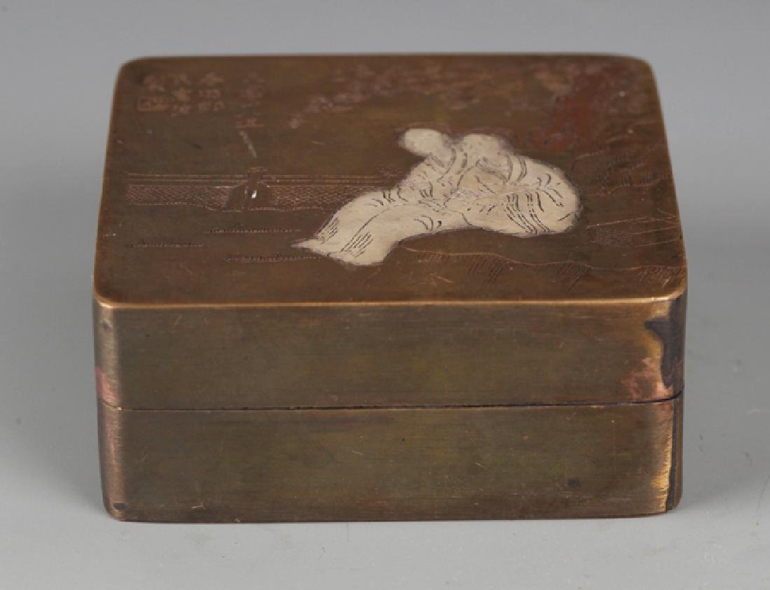 A FINELY STORY CARVED BRONZE INK BOX - 2