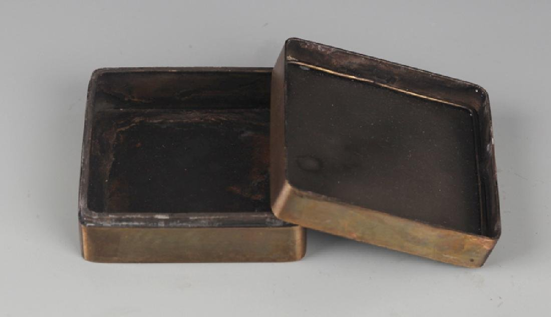 A FINELY STORY CARVED BRONZE INK BOX - 4