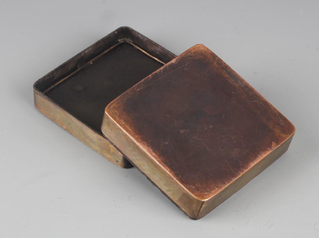 A FINELY STORY CARVED BRONZE INK BOX - 5