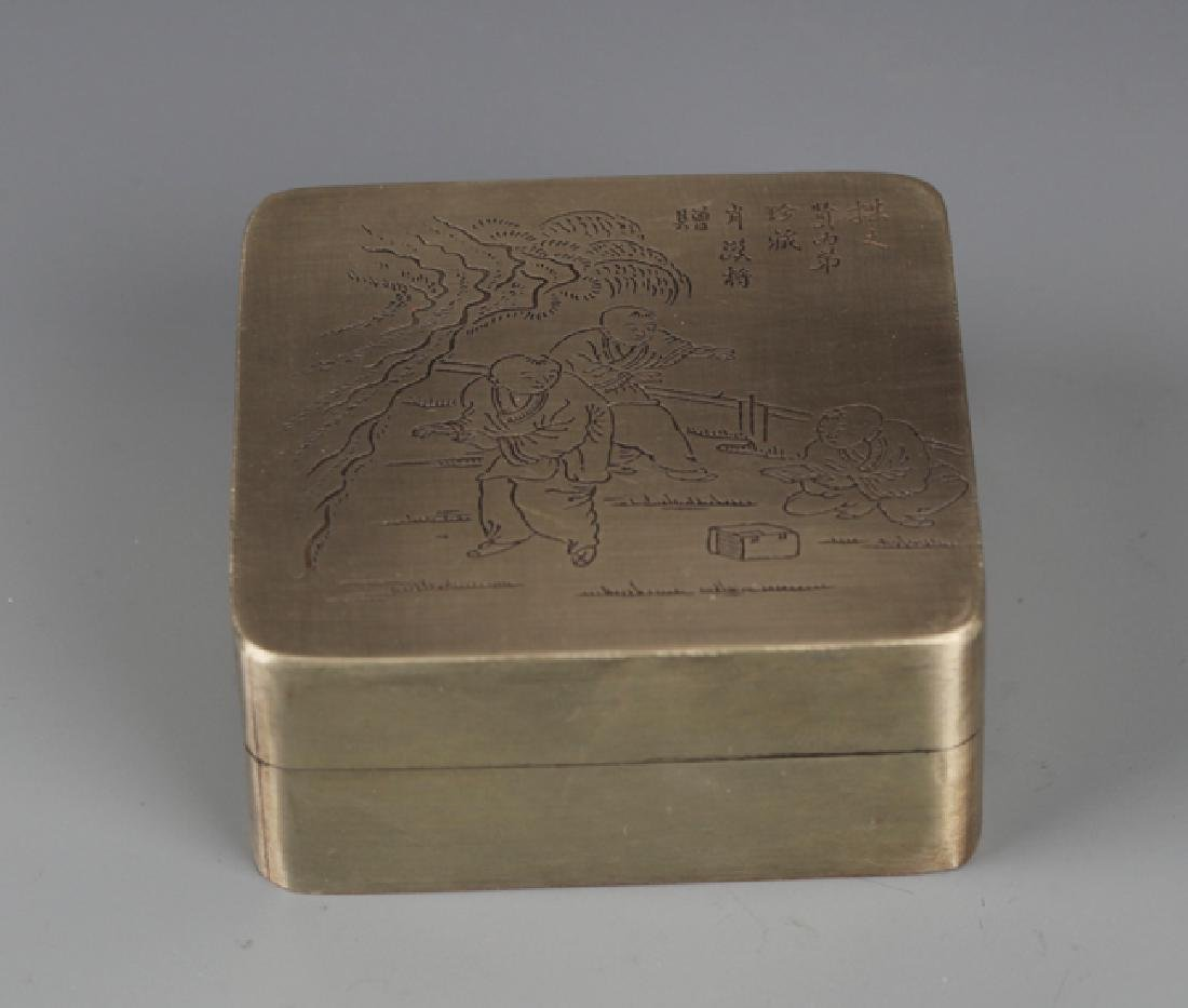 A FINELY STORY CARVING BRONZE INK BOX - 2