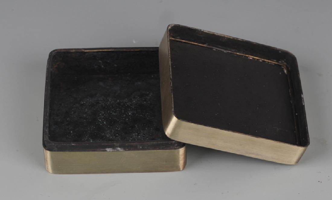 A FINELY STORY CARVING BRONZE INK BOX - 3