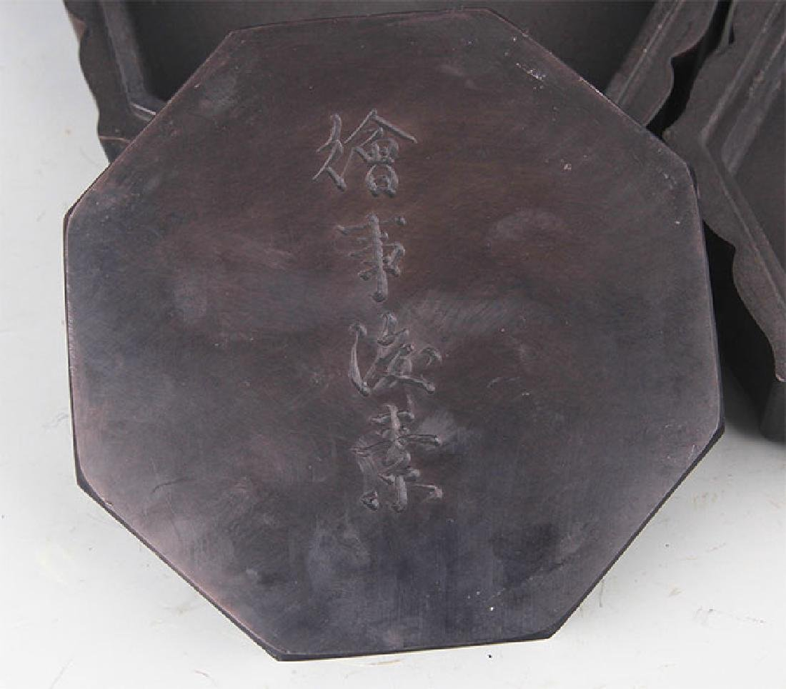 A FINE STONE INK WITH WOODEN BOX - 4