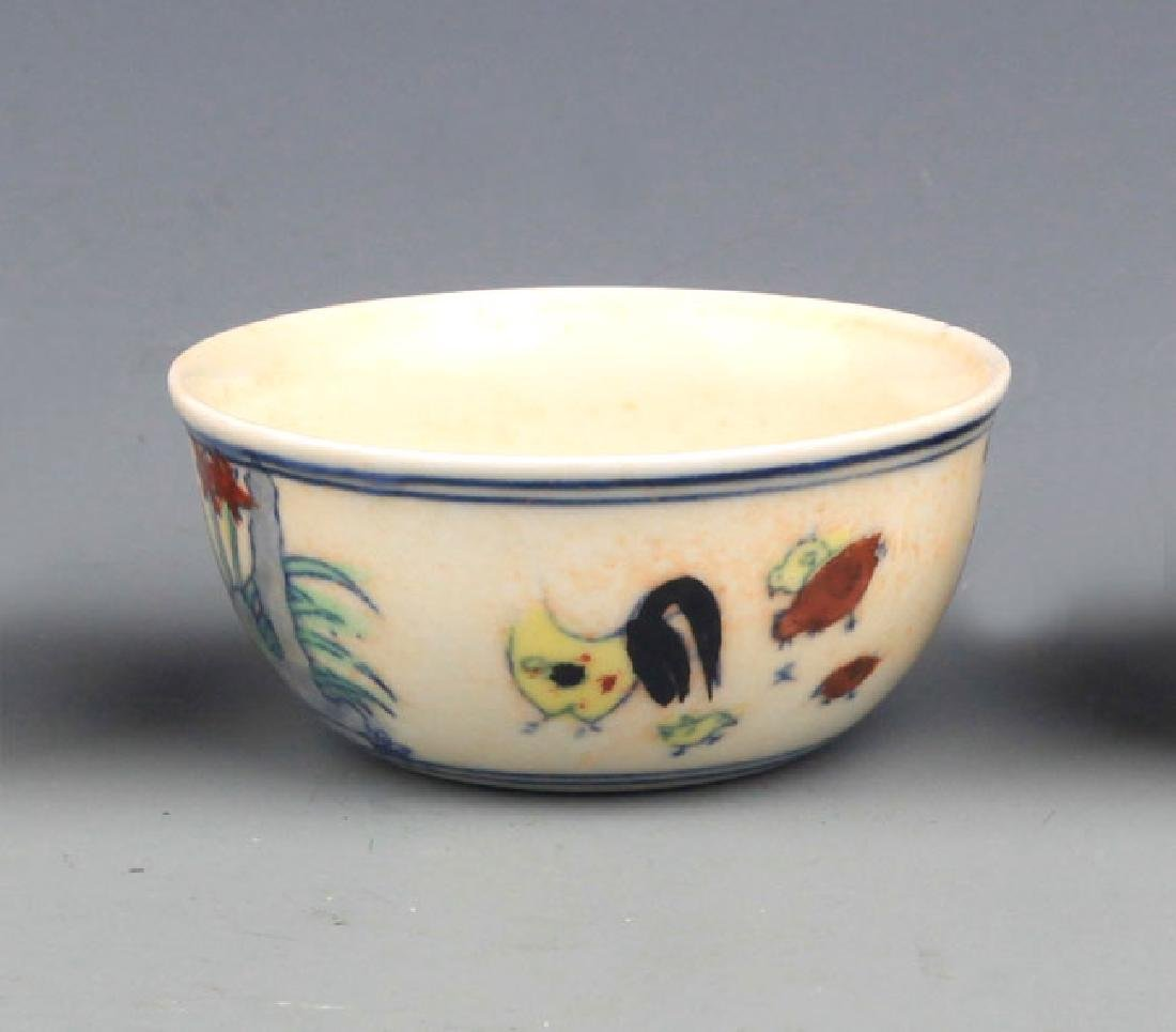 "A FINE DOUCAI ""CHICKEN"" CUP"
