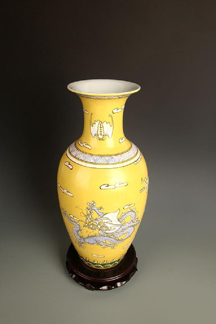 PAIR OF LARGE YELLOW GROUND DRAGON PAINTED JAR - 10