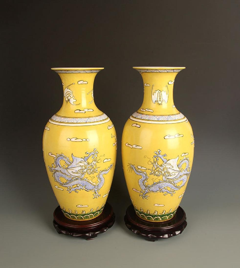 PAIR OF LARGE YELLOW GROUND DRAGON PAINTED JAR