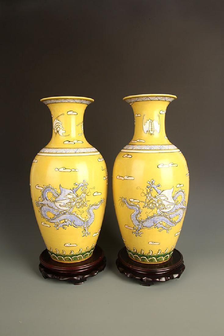 PAIR OF LARGE YELLOW GROUND DRAGON PAINTED JAR - 3