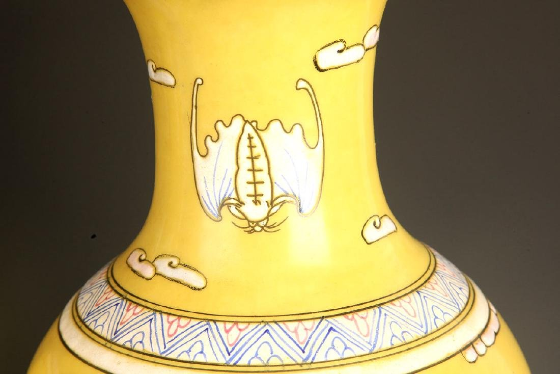 PAIR OF LARGE YELLOW GROUND DRAGON PAINTED JAR - 5