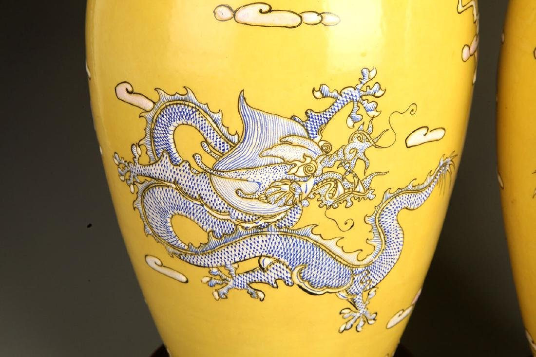 PAIR OF LARGE YELLOW GROUND DRAGON PAINTED JAR - 6