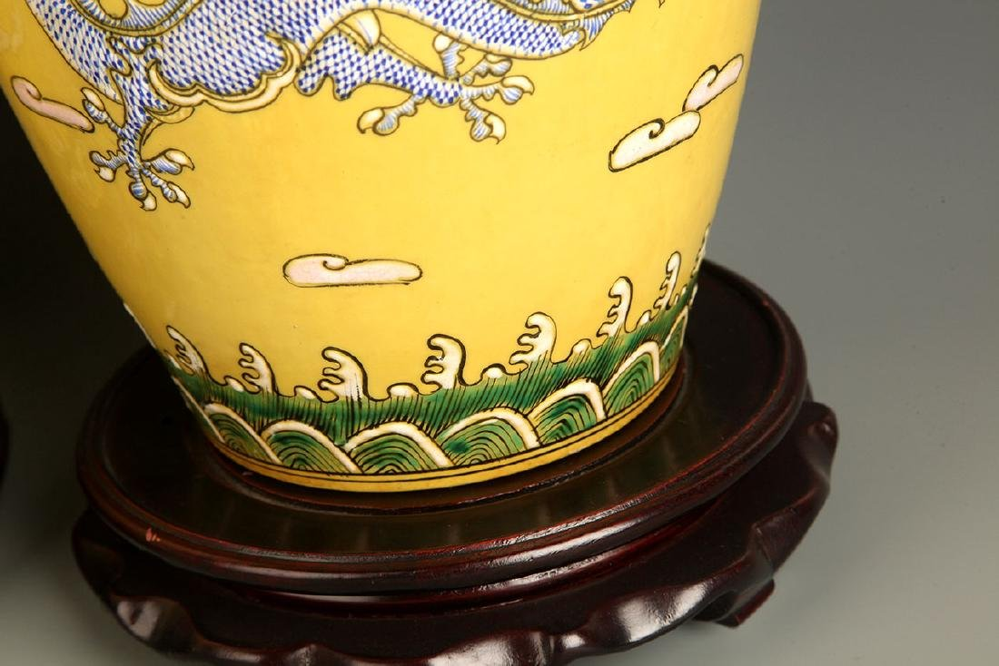 PAIR OF LARGE YELLOW GROUND DRAGON PAINTED JAR - 7