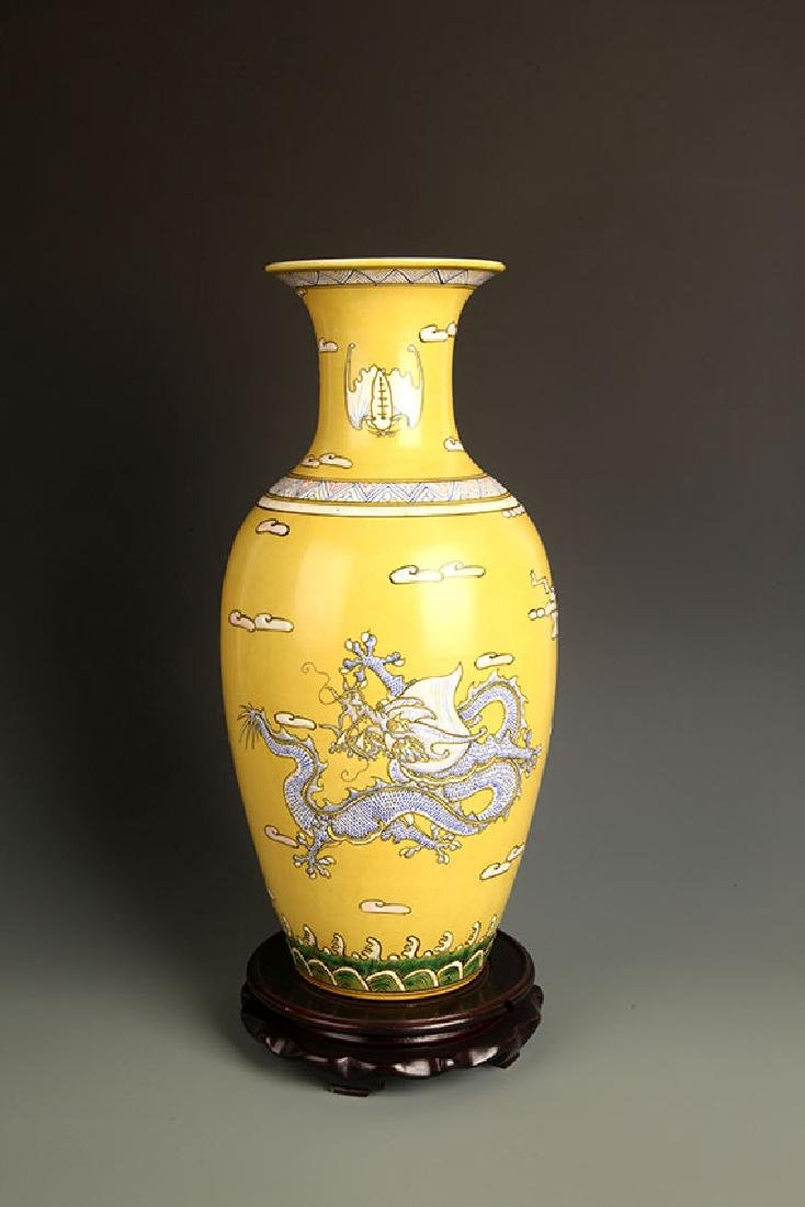 PAIR OF LARGE YELLOW GROUND DRAGON PAINTED JAR - 9