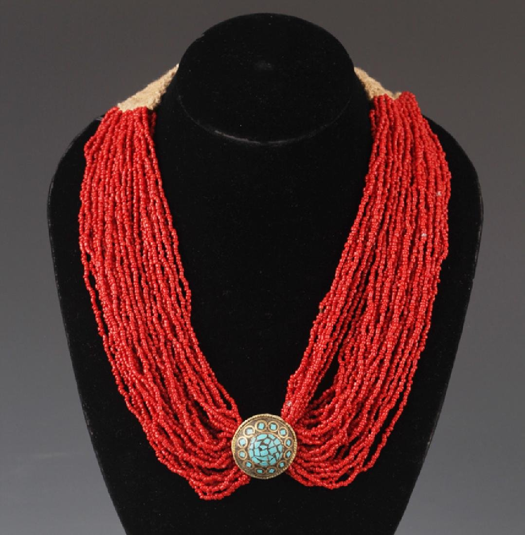 A CORAL NECKLACE WITH TURQUOISE
