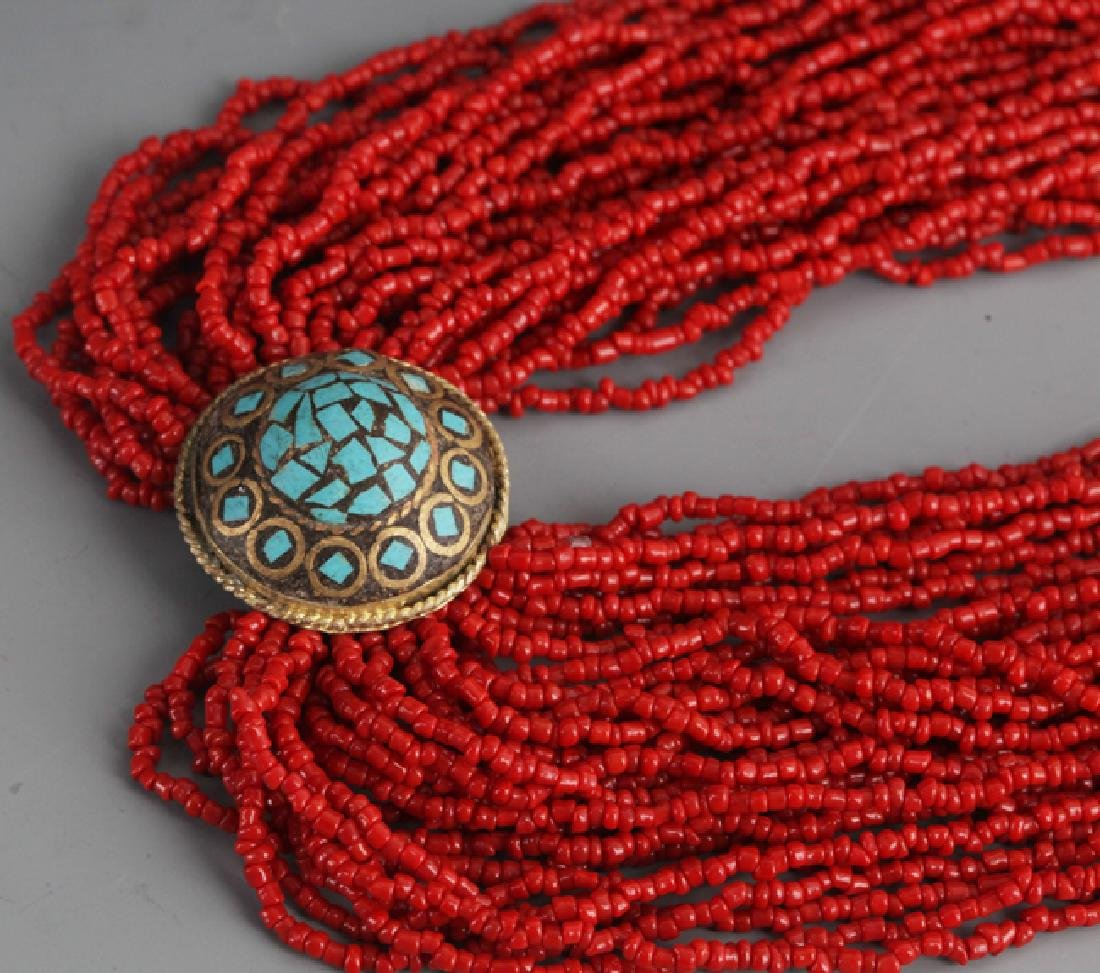 A CORAL NECKLACE WITH TURQUOISE - 4